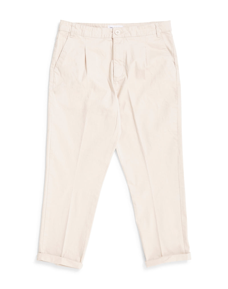 The Idle Man - Loose Fit Cropped Pleated Chino Stone