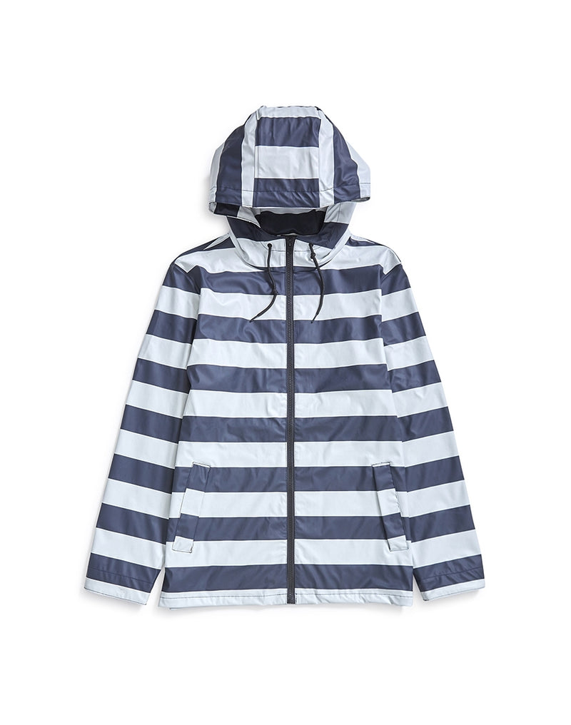 The Idle Man - Striped Rubber Rain Jacket Navy & White