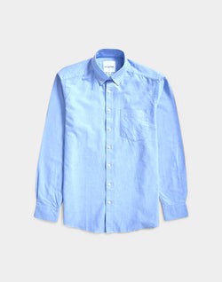 The Idle Man - Relaxed Modern Fit Oxford Shirt Blue