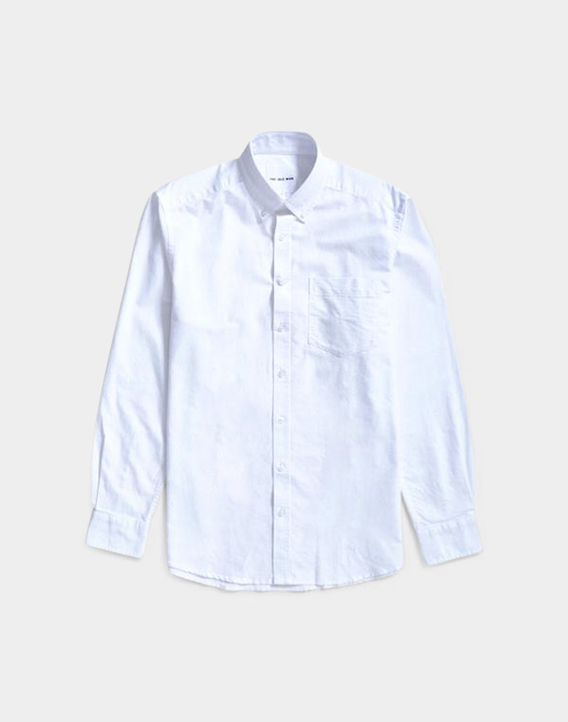 The Idle Man - Relaxed Modern Fit Oxford Shirt White