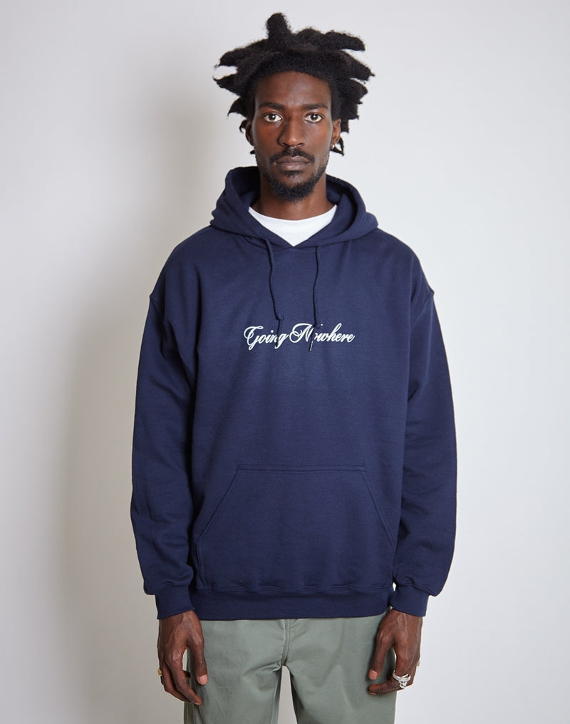 The Idle Man - Nowhere Italics Hoodie Navy