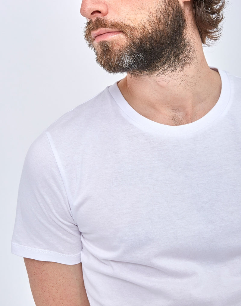 The Idle Man - Organic Crew Neck T-Shirt White