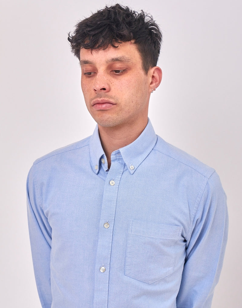 The Idle Man - Regular Slim Fit Oxford Shirt Blue