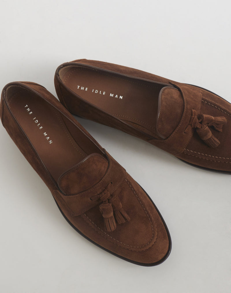 The Idle Man - Suede Tassle Loafer Tan