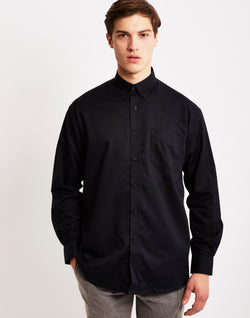 The Idle Man - Long Sleeve Oxford Shirt Black