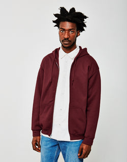 The Idle Man - Classic Zip Through Hoodie Burgundy