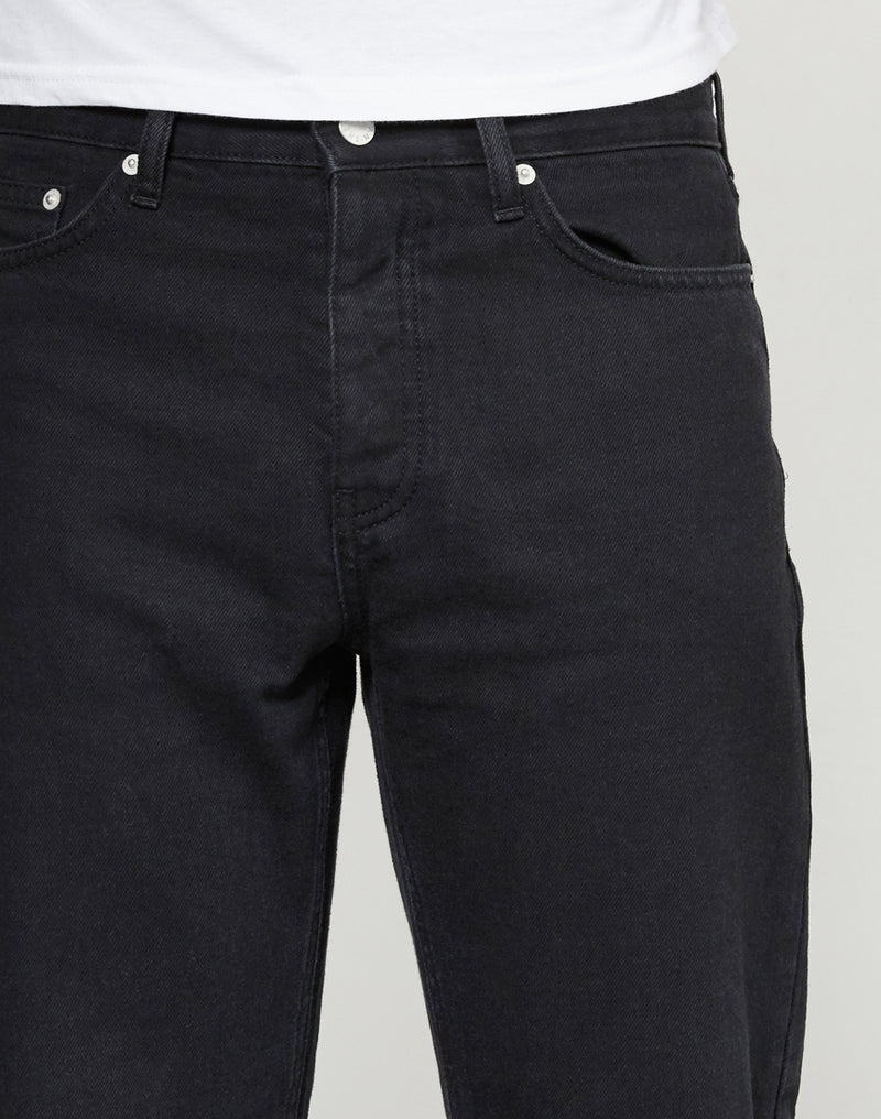 The Idle Man - Raw Hem Dad Jeans Black