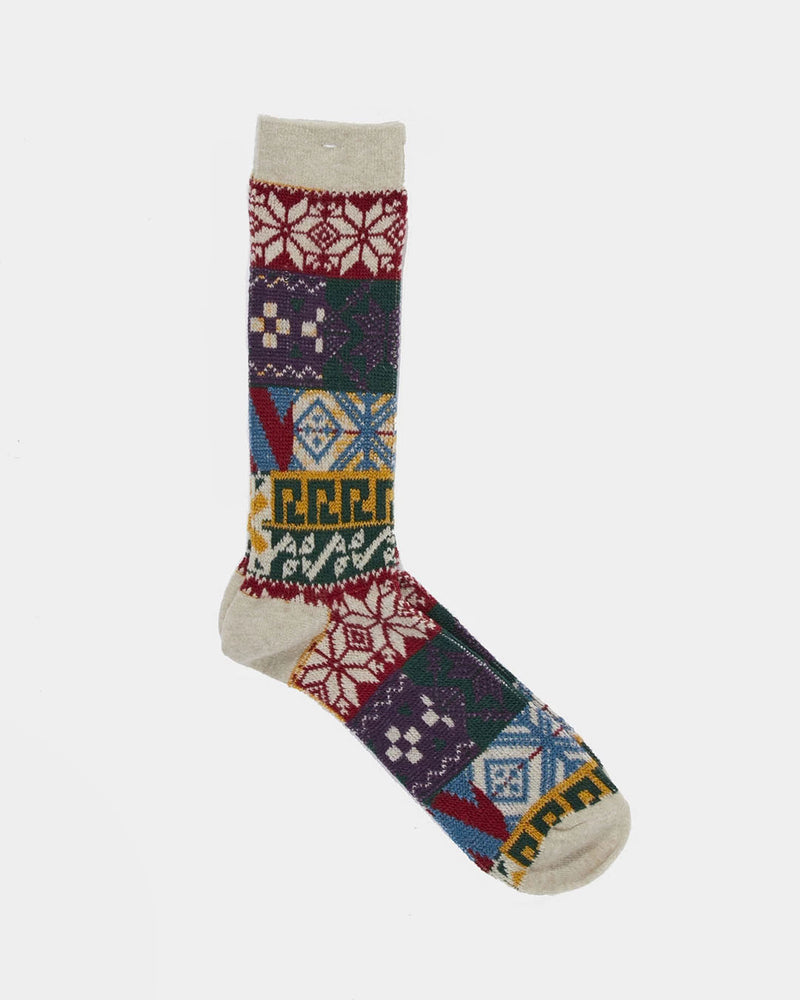 Anonymous Ism - Festive Pattern Sock Off White