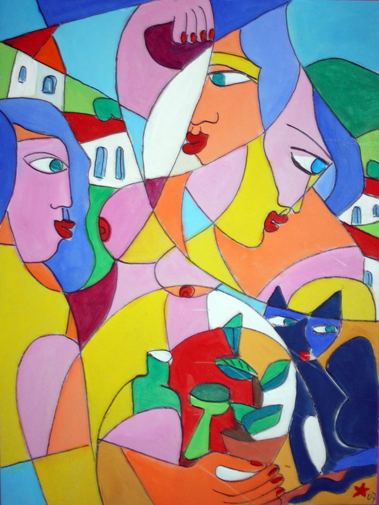 Having good times, Gouache painting by Jesus Remus