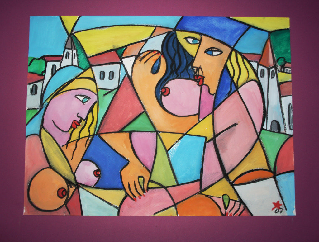 Modern people, old city, Gouache painting by Jesus Remus