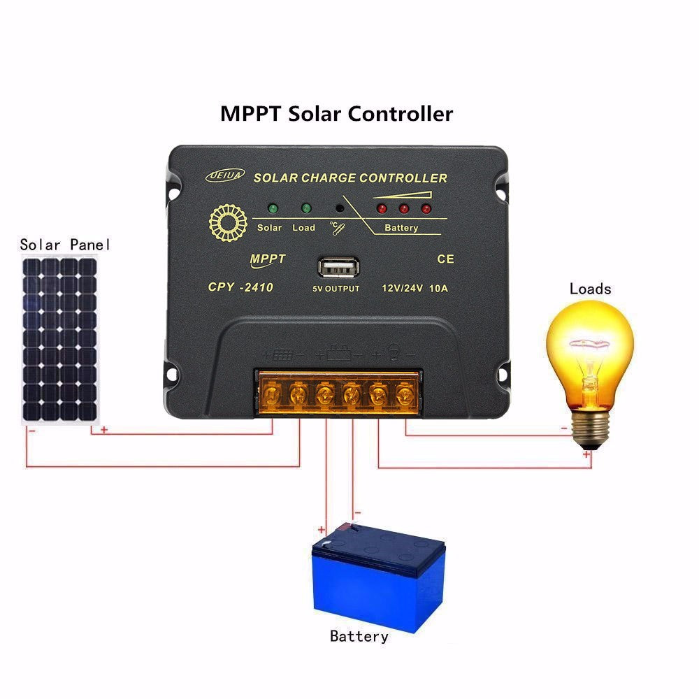CPY-2410 12V/24V 10A USB MPPT Solar Panel Battery Charge Controller