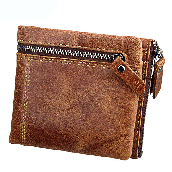 RFID Blocking Slim Bifold Wallet Genuiner Leather Vintage Organizer Wallet for Men