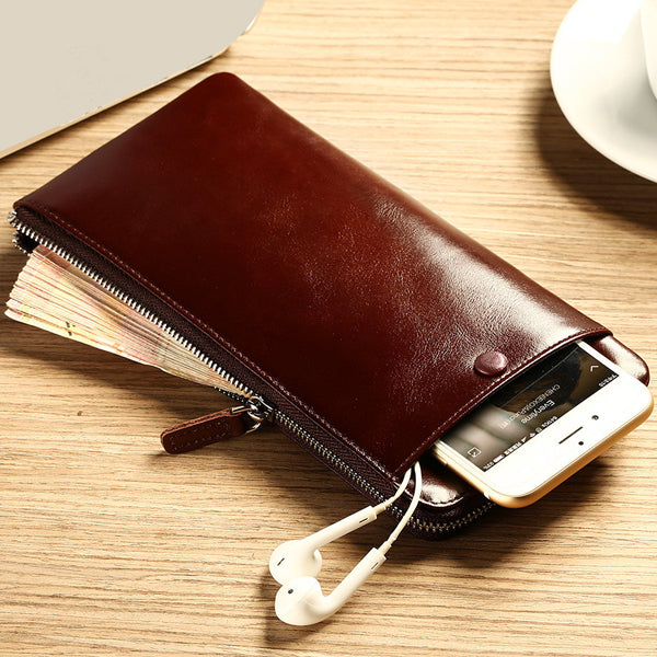 Men Genuine Leather Vintage Long Phone Wallet Zipper Card Holder Check Wallet