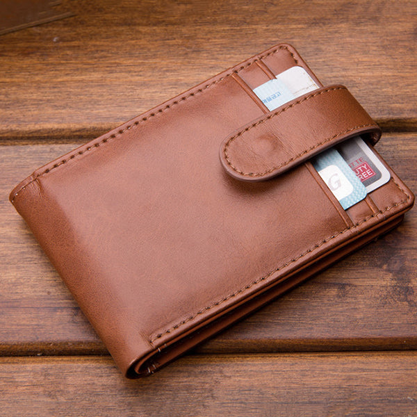 Men PU Business Multifunctional Short Buckle Wallet Card Holder