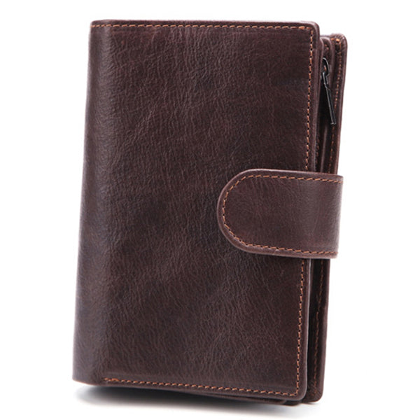 Men Passport Bag 9 Card Slots Photo Holder Genuine Leather Oil Wax Business Short Wallet