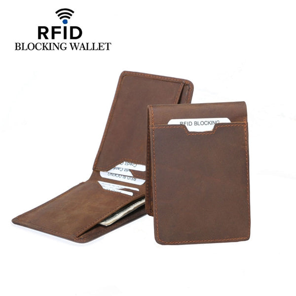 RFID Card Holder Wallet Bifold Slim Genuine Leather Thin Minimalist Money Clip for Men