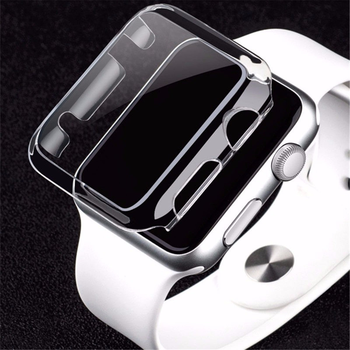 Transparent Clear Thin Hard Clip On Case Cover Screen Protector For 38/42mm Apple Watch 1