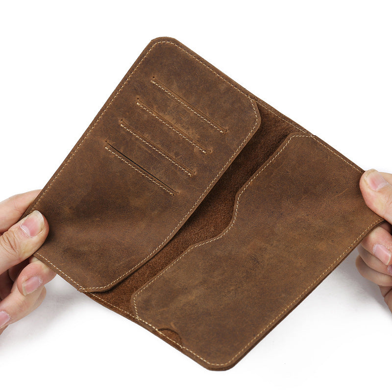 Men Genuine Leather Soft Leather 5.0-6.0 Inches Phone Bag Wallets Card Holder
