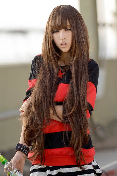 Fashion Fluffy Full Bang Light Brown Charming Long Wavy Synthetic Wig For Women