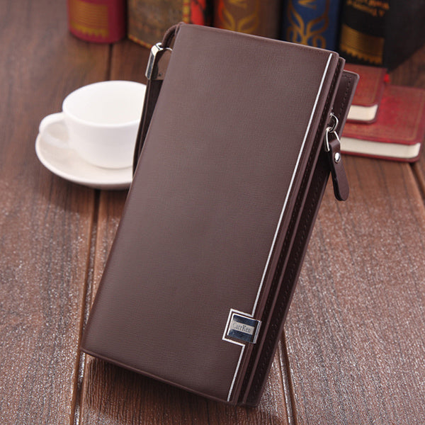 PU Leather Long Clutch Bag Solid 7 Card Slot Wallet Multi-function Phone Purse For Men