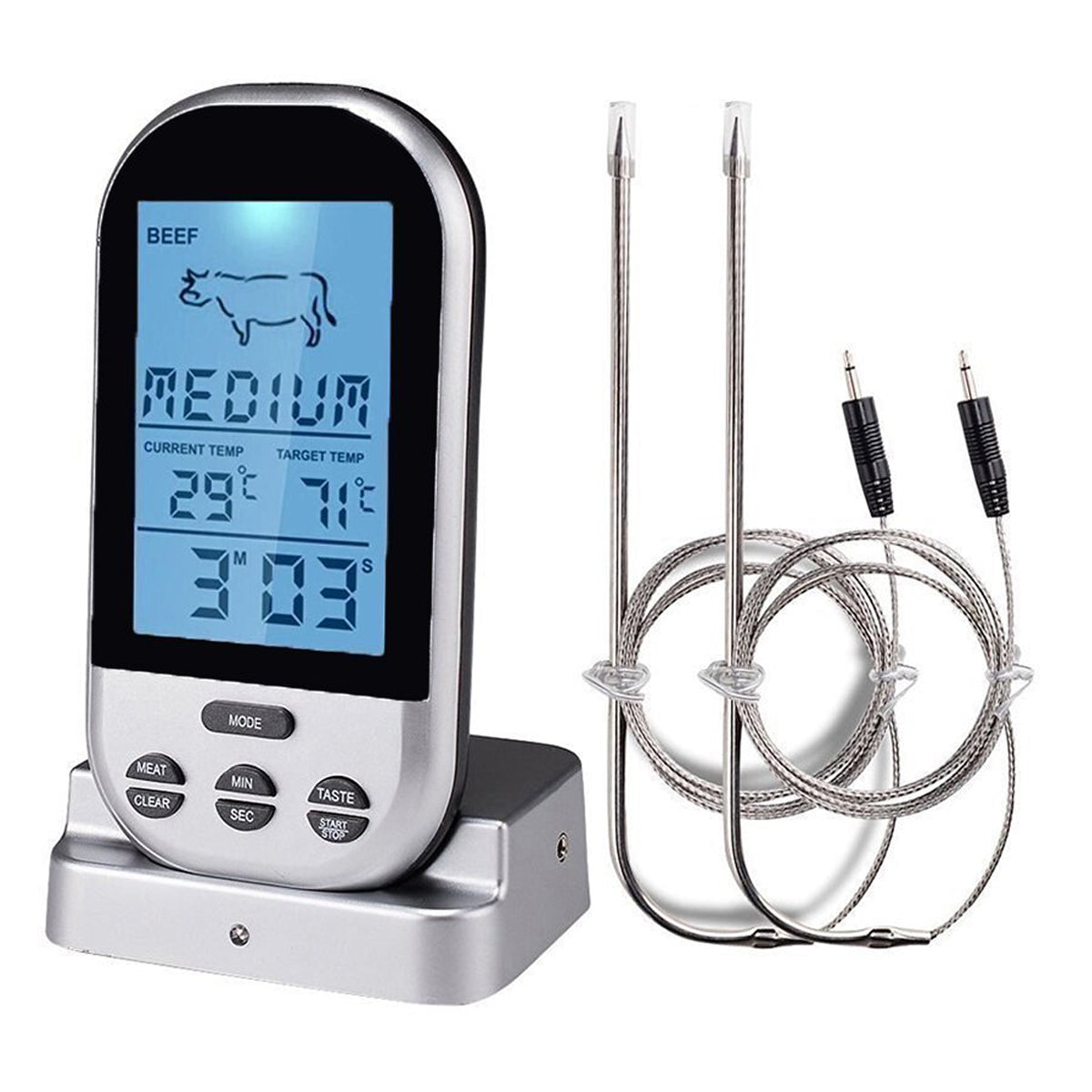 LCD Wireless Thermometer Barbecue Timer Digital Probe Cooking Thermometer Food Temperature Gauge