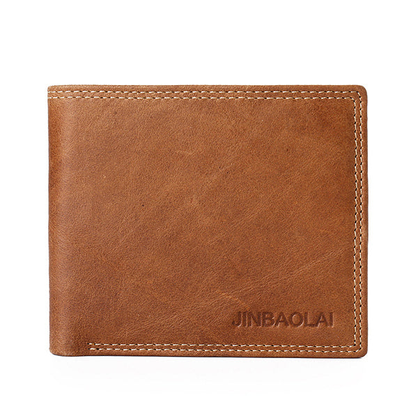 JINBAOLAI Men Genuine Leather Minimalist Vintage Short Wallet Leisure Business Multicard Card Holder