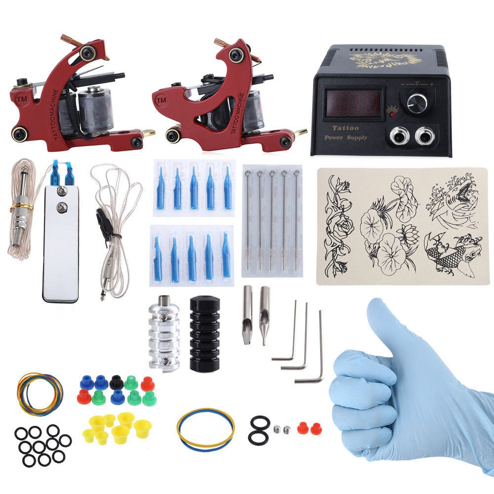 Complete Tattoo Kit DIY 2 Tattoo Machines Power Supply System