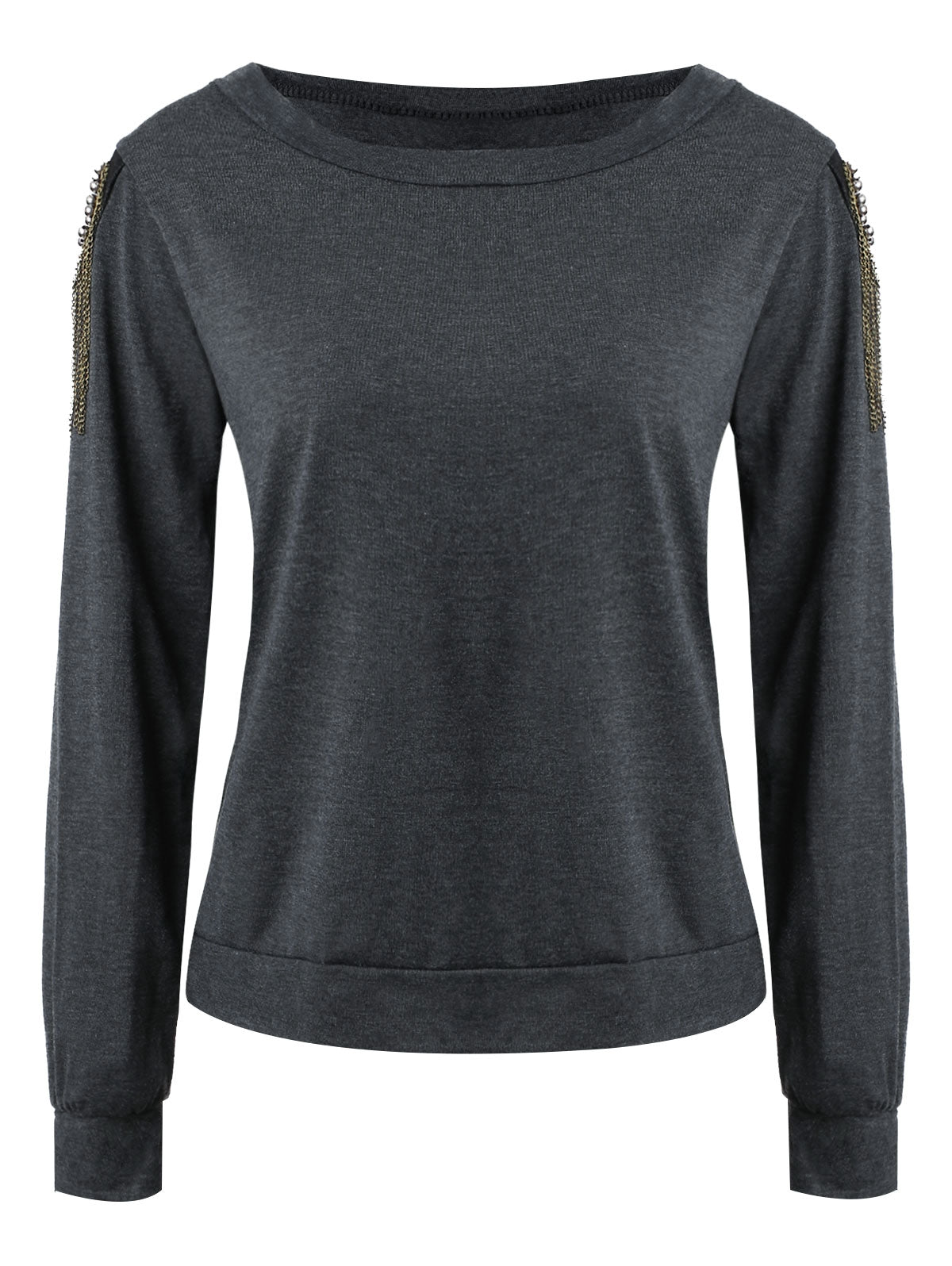 Alluring Women's Long Sleeve Jewel Neck Solid Color T-Shirt