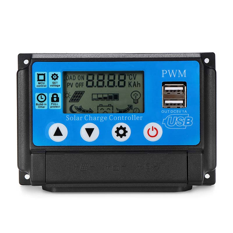 10/20/30/40/50A 12V 24V Auto Solar Panel Solar Charge Controller Battery Charge Adapter LCD USB