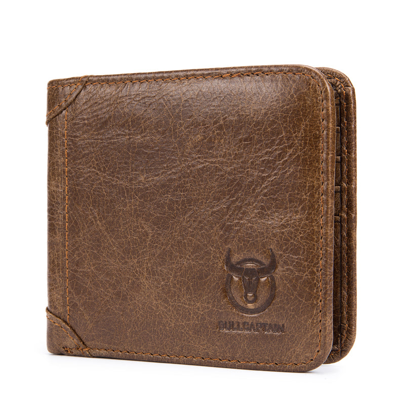 Bullcaptain Men Trifold Wallet Classic Short Thin Wallet Card Holder