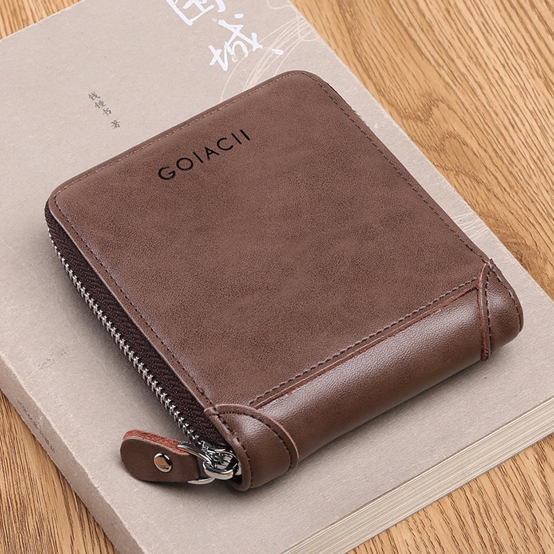 Men Vintage Trifold Wallet Fashion Multi-functional Genuine Leather Coin Bag Card Holder