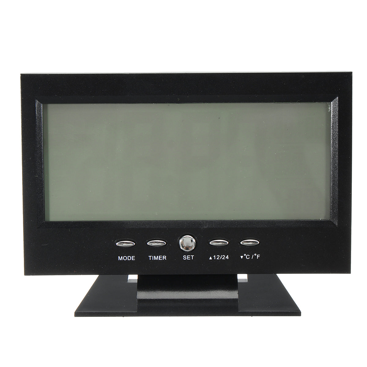 LCD Digital Table Clock + Calendar Temperature Alarm Sound Sensor Light Up Black