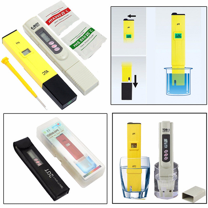 0-9999 PPM Digital PH Meter TDS Tester Aquarium Pool Hydroponic Water Monitor