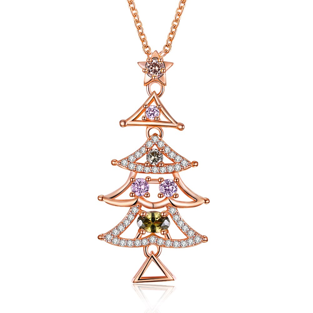 INALIS Women's Sweet Delicate Christmas Tree Colorful Zircon Necklace Gift
