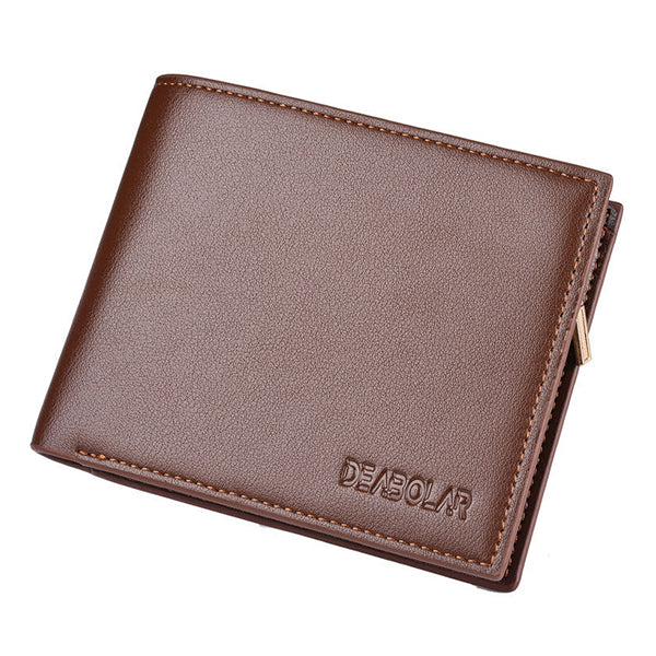 Men Large Capacity Short Trifold Business 10 Card Slots SIM Photo Holder Coin Bag Wallet