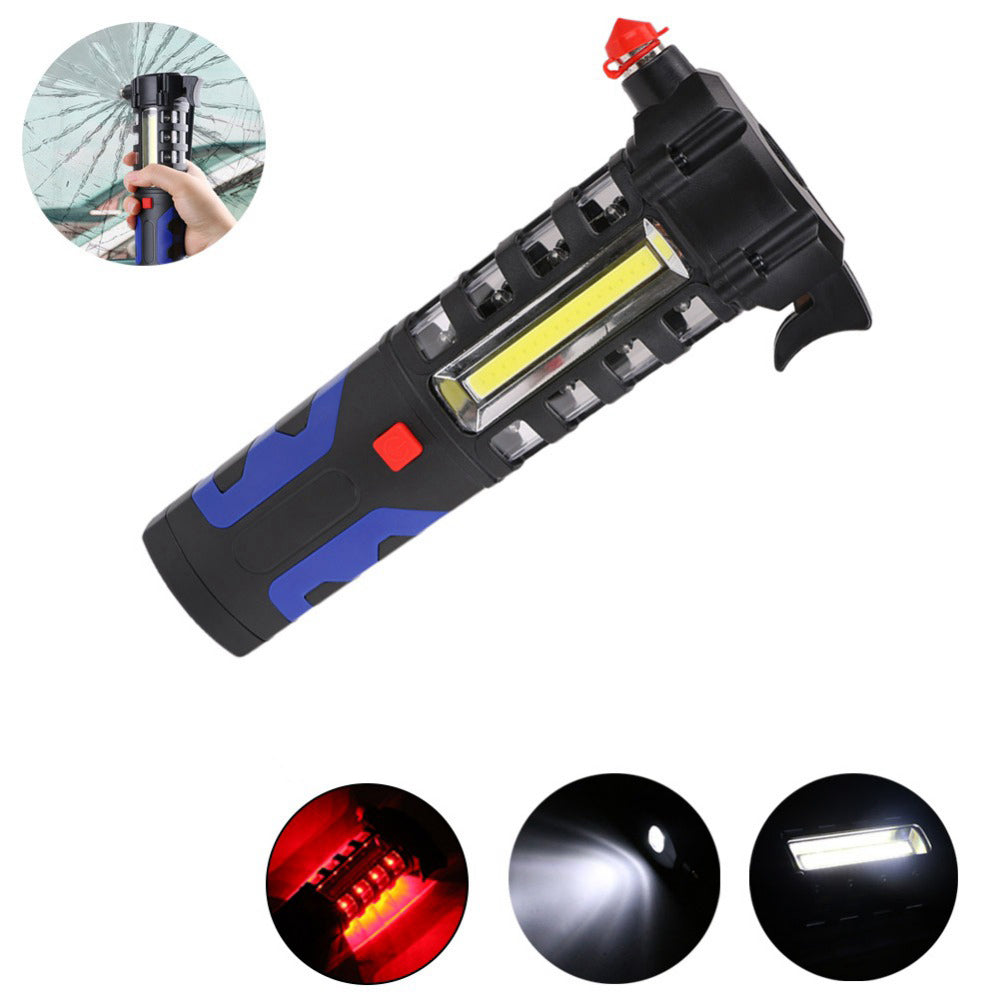 LUSTREON Magnetic COB LED Work Light Torch Safety Escape Rescue Window Breaker Emergency Hammer Tool