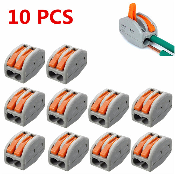 Excellway® ET20 10Pcs 2 Pins Spring Lever Terminal Block Electric Cable Wire Connector