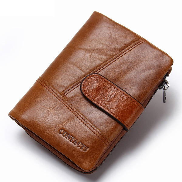 Genuiner Leather Money Coin Wallet Bifold Card Holder ID Photo Holder Wallet