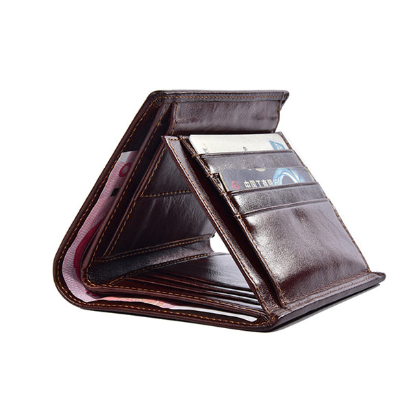 Men Tri-fold Genuine Leather Vintage Multi-card Slots Short Wallet