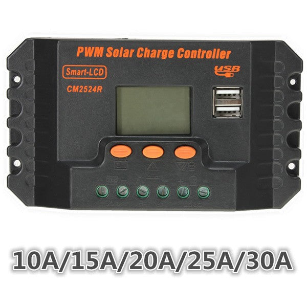 LCD 10/15/20/25/30A 12V/24V PWM Solar Panel Regulator Charge Controller