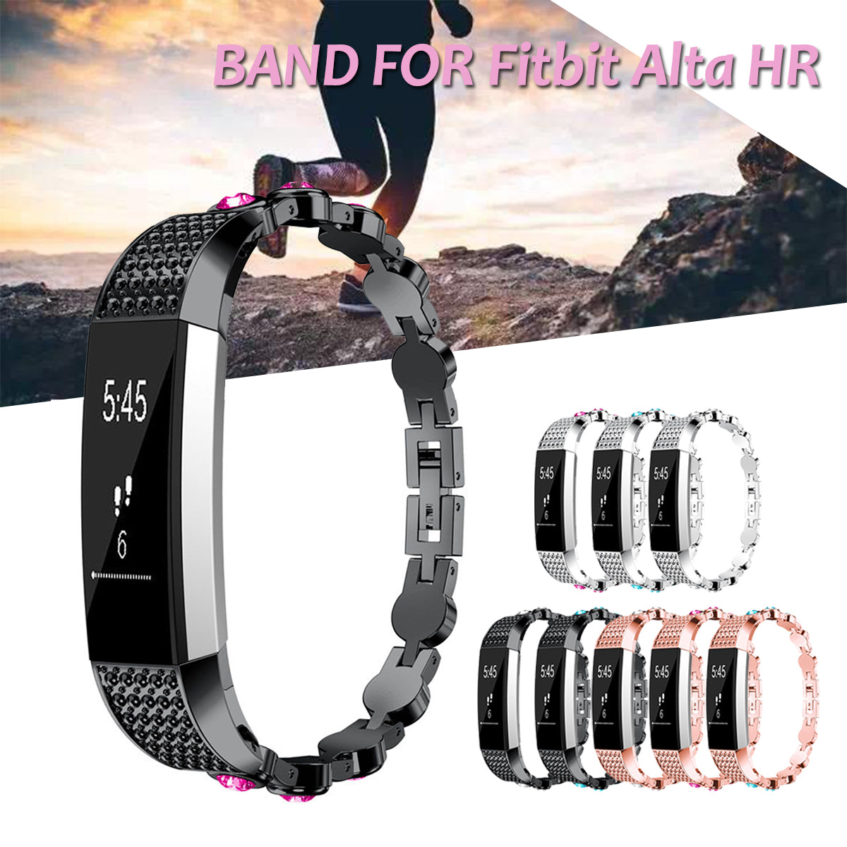 Fitbit Alta Stainless Steel Crystal Colorful Smart Watch Band for Fitbit Alta Fitbit HR