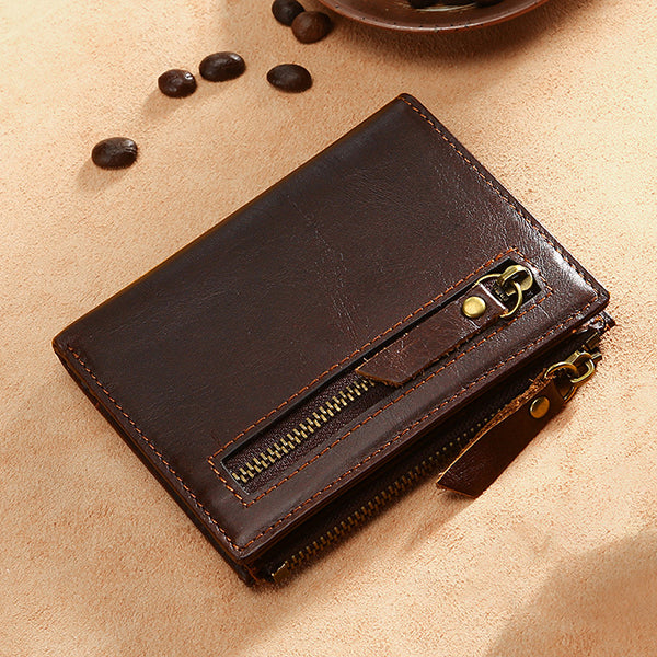 Men RFID Genuine Leather Vintage Wallet Multi-Slots Card Holder