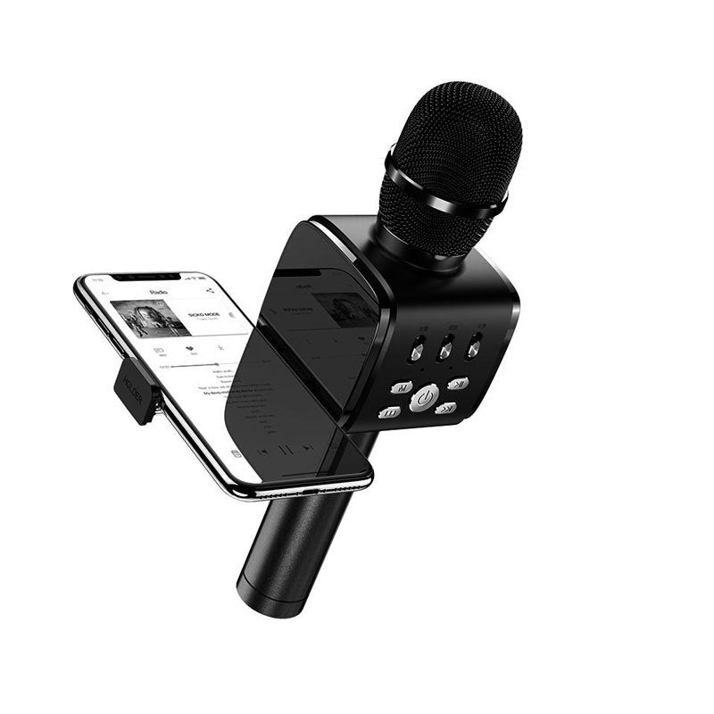 JOYROOM JR-MC3 2 in 1 Handheld Wireless bluetooth Multifunction Microphone with Phone Holder for Phone PC Karaoke Nights and House Parties (Black)