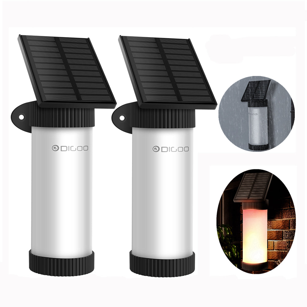 Digoo DG FLE02 2Pcs Wireless Outdoor Garden 100 LED Solar Flame Light Waterproof Wall Mounted Atmosphere Light for Garden Patio Path Lighting