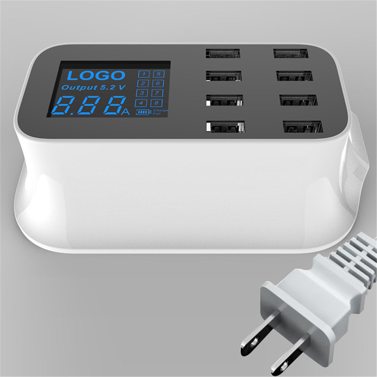 8 Multi-Port USB Adapter Desktop Wall Charger Smart LED Display Charging Station USB Charger