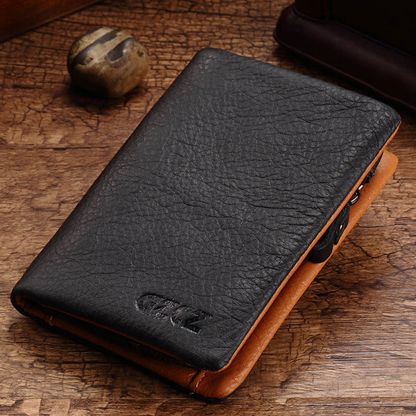 Men Vintage Genuine Leather Removable Zipper Pocket Trifold Wallet Long Wallet