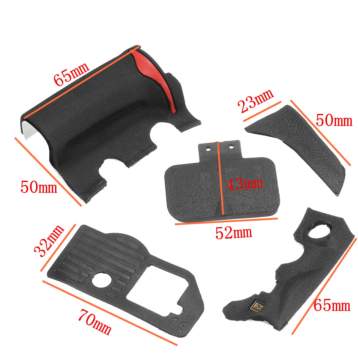 5 Pieces Repair Part of Grip Rubber Cover Unit Black For Nikon D700 Camera With Tape