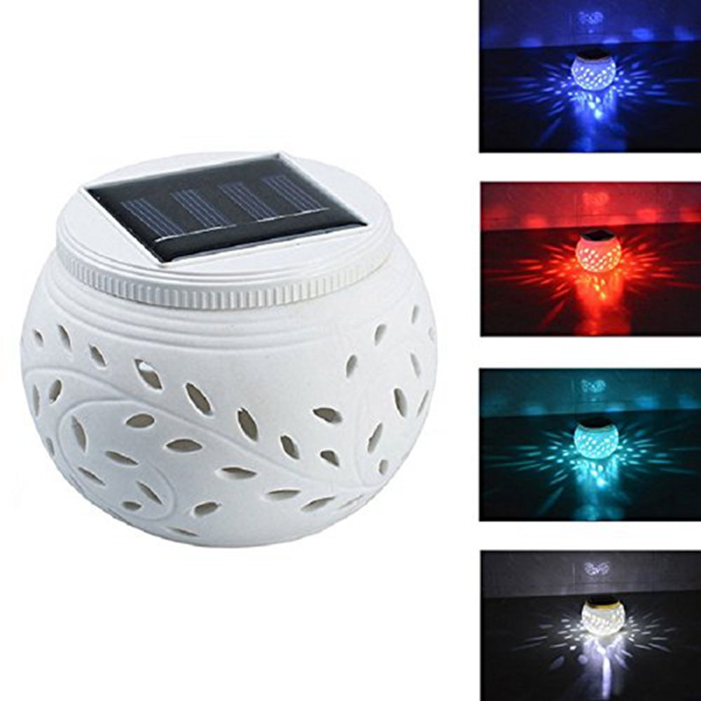 Solar Power Colorful Outdoor Garden Lawn Decoration Light Lantern Ceramics Table Night Lamp