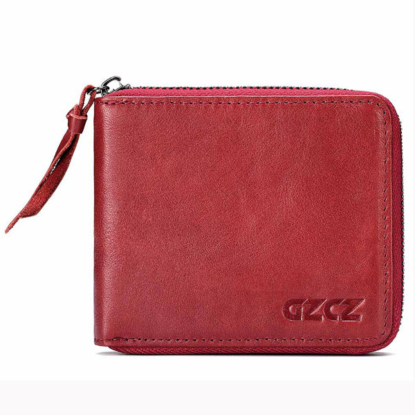 Red Women Genuine Leather Zipper Coin Bag