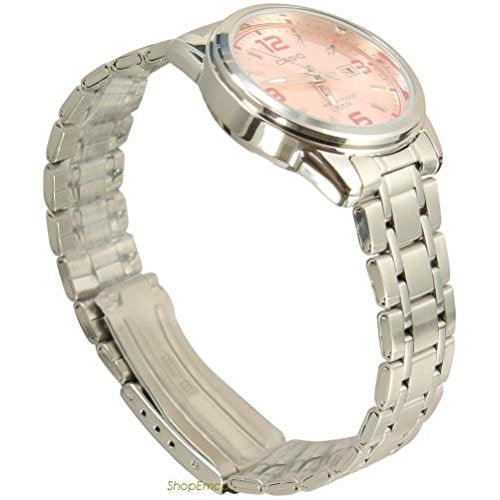 Casio Women's LTP1314D-5AV Silver Stainless-Steel Quartz Watch with Pink Dial